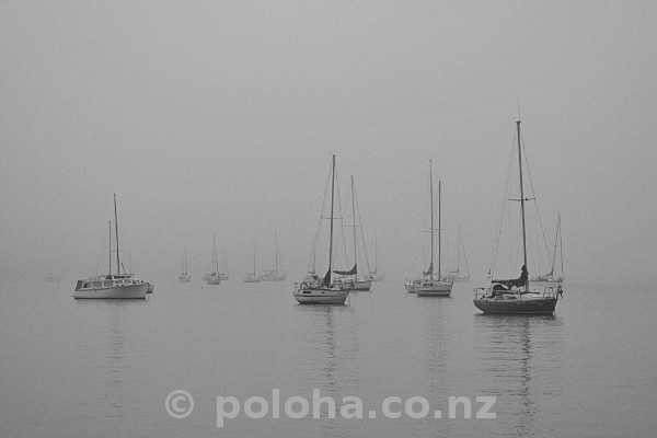 Stock Photo: Foggy winter morning from Birkenhead Wharf