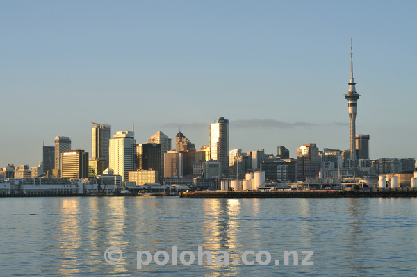 Auckland CBD from ferry in the morning